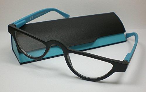 Designer Lesebrille für Sie & Ihn Lesehilfe mit Etui Flexbügel Kunststoff türkis-schwarz +1,0