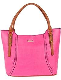 Handbags For Women By Fur Jaden, Branded Ladies Handbag Cum Shoulder Purse (Fuchsia)