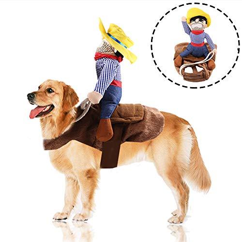 Fansu Kostüm Hund Haustier Hund Katze Kostüme, Einstellbare Cowboy Kleidung Netter Party Cosplay Dekoration Onkel Gelber Hut (L,Brown)