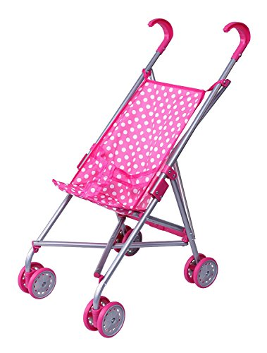 Precious Toys Pink and White Polka Dots Doll Stroller, Hot Pink Handles and Silver Frame, Swiveling  available at amazon for Rs.2568