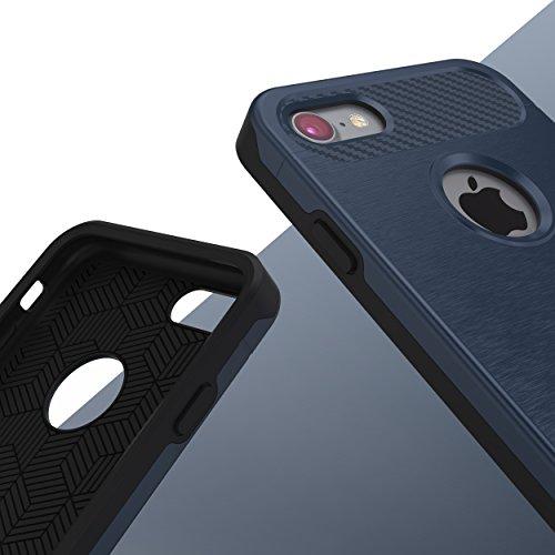 iPhone 7 Coque, Urcover Cross Case Dual Layer [Look Carbone] Housse Étui Téléphone Smartphone Champagne Or pour Apple iPhone 7 Cover Bleu Foncé