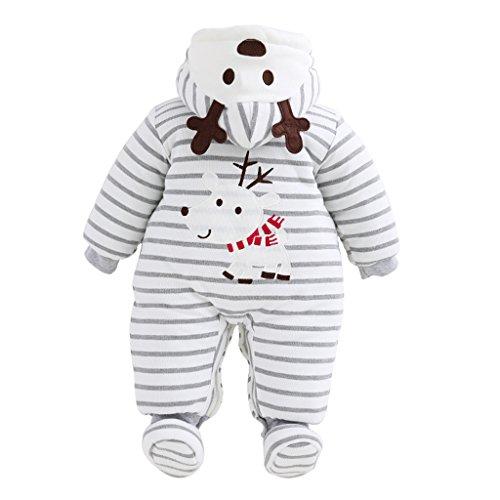 Baby Weihnachten Strampelanzug Winteroverall kostüm lange Ärmel Strampler Weihnachtskostüm Unisex Kleinkinder Warm Jumpsuits Schuh 0-3 Monate ()