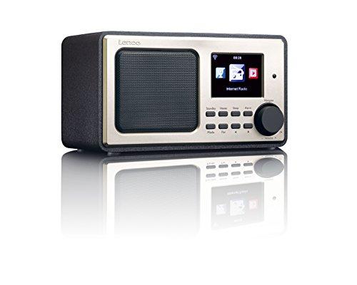 Lenco Internetradio DIR-100 WLAN mit Radiowecker und Wettervorhersage (8 cm TFT Farb-Display, USB, 2 Weckzeiten, Aux-Eingang, Line-Ausgang, Fernbedienung), Schwarz