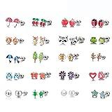 20 Paires Boucles d'oreilles pour Filles, Boucles d'Oreille en Acier Inoxydable pour Filles Enfants Animaux Plantes Cœur Renard Fleur Arbre