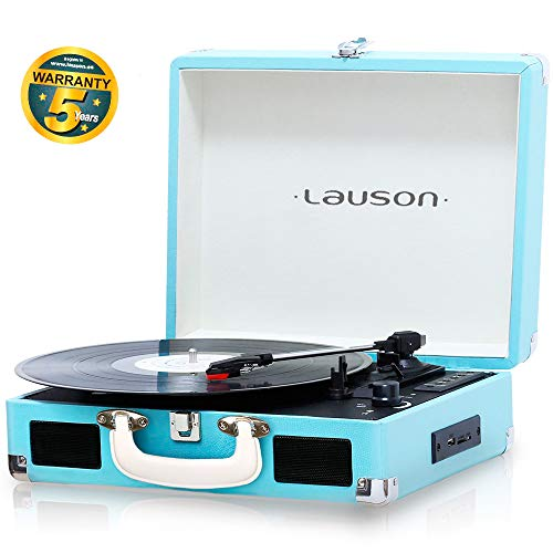 Lauson CL604 Platine Vinyle Bluetooth | Tourne-Disque avec USB | RCA | Valise Reproducteur Vinyle Portable Mp3 | Trois Vitesse 33/45/78 avec Haut-Parleur Intégré (Bleu)