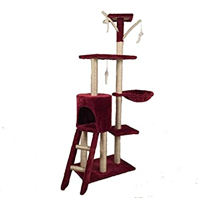 D2B Cat Tree Scratching Post Scratch Activity Center Scratcher Pole Bed Toys CAT001 (Red?