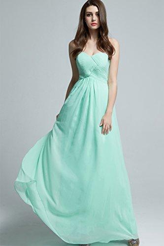 GEORGE BRIDE Einfache Chiffon langes Abendkleid Brautjungfer Kleid Hellgruen