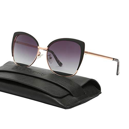 Vivienfang Halbrand übergroßen Katzenaugen Sonnenbrille Women's Polarized Oversized Sunglasses 86447B Black -