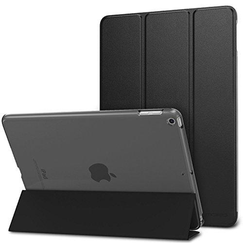 iPad Case, EONANT Apple iPad Hülle Ultra Slim Leichter Smart-Shell Standfuß mit Durchsichtigem Rückenprotektor (Schwarz) (für iPad Air 2 / iPad 6)