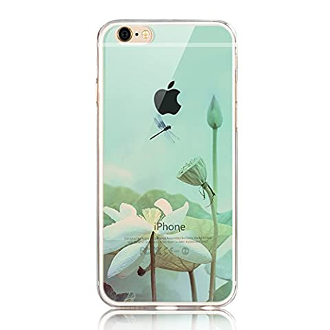 iPhone SE Case,iPhone 5/5S Case,iPhone SE 5 5S Transparent Silicone Scratch-Proof Cover,Sunroyal Ultra Thin Clear Soft Gel TPU Silicone Embossing Landscape Case Cover for iPhone 5 5S SE - Lotus and Dragonfly Pattern