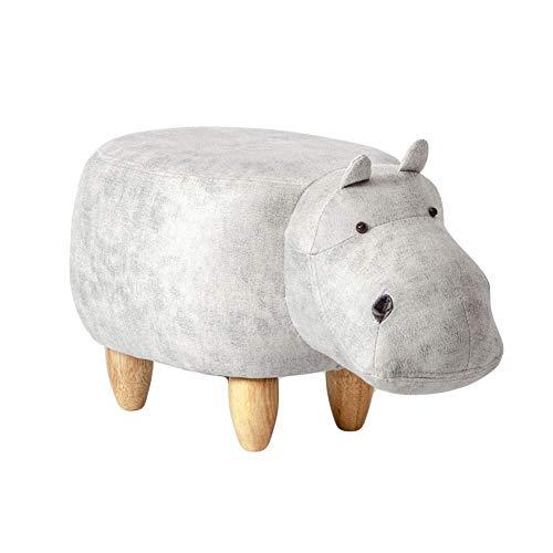 WEHOLY Sofahocker, Hippo Shaped Animal, gepolsterter Fußschemel Tablett Aufsetzbar Mit Aufbewahrung Fußschemel Gepolsterter Sitz weiß 63x33x36cm (25x13x14inch)