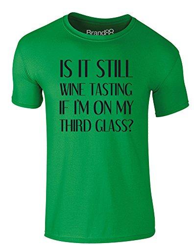 Brand88 - Wine Tasting, Erwachsene Gedrucktes T-Shirt Grün/Schwarz