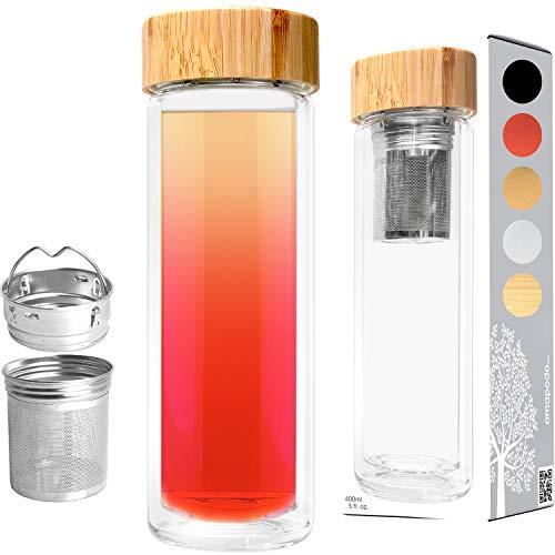 amapodo Teeflasche mit Sieb to go - Tee Flasche mit Bambusdeckel, Tee-Glas doppelwandig 400 ml, Geschenk, Glasflasche mit Fruchteinsatz (Zug-tee - / Wasserkocher)