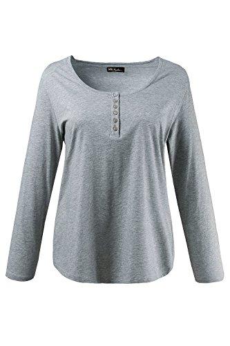 Ulla Popken Damen große Größen bis 64, Oberteil, Langarmshirt, Shirt, Basic, Langarm & Rundhals, Reine Baumwolle hellgrau-Melange 46/48 700603 13-46+