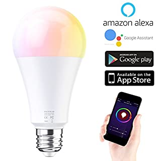EXTSUD Smart LED WiFi Lampen,10W Dimmbar Mehrfarbig RGB LED Birne E27 Glühbirnen ändern Stimmung Licht Arbeit mit Smartphone,Tablet, Amazon Echo Plus Alexa,Google Home,Steuerbar via App