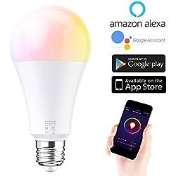 Ampoule WiFi EXTSUD Ampoule Connectée Intelligente Lampe LED Couleur Multicolore RGB Contrôlé par Amazon Echo Alexa, Smartphone Android et iOS, Tablette (E27)