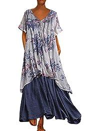 479fa1a6e6 YONGPIN Retro Maxi Dress Women's Casual Loose Sleeveless Sundress V-Neck A-line  Beach