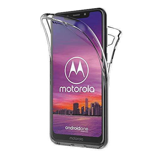AICEK Compatible Moto One Hülle, 360°Full Body Transparent Silikon Schutzhülle für Motorola One Case Durchsichtige TPU Bumper Motorola Moto One Handyhülle (5,9 Zoll)