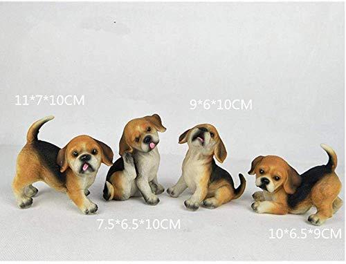 LQUIDE Figur 4 Stück Harz Rottweiler Labrador Hund Mikro Landschaft Dekoration Haustier Welpe Miniatur Hausgarten Dekoration Statue Haus Dekoration R684, hellgelb -