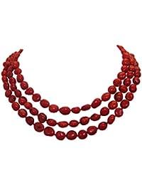 Tres filas de 8 x 10 mm bfea TreasureBay Natural Coral rojo collar -  presentado en bff110336f5
