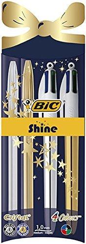 BIC Shine - Estuche edición especial con bolígrafos oro y plata: 2 BIC Cristal y 2 4Colores