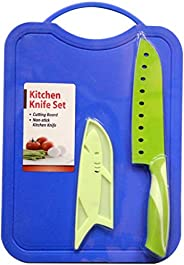 Knife With Chopping Board - Blue/Green [KN-9305]
