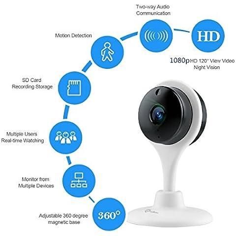 miSafes visione telecamera wireless Wi-Fi Baby Monitor domestico Cam remoto casa guardia di sicurezza notturna con Audio di 2 modi per IOS Android iphone ipad Samsung Htc Lg Sony Google Nexus Bianco