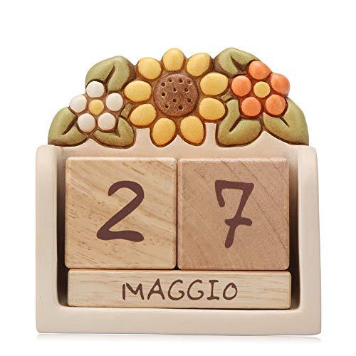 THUN - Soprammobile Calendario Perpetuo da Tavolo - Ceramica con Cubi in Legno - Linea Country