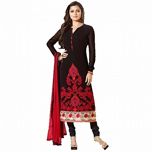 Flourishing Collections Women's Black And Red Georgette Embroidered Dressmaterial