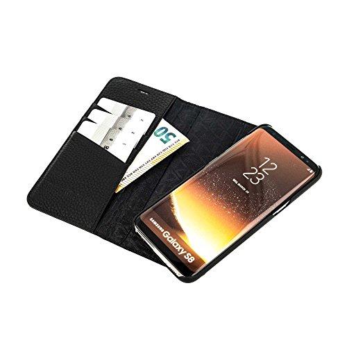 QIOTTI >            SAMSUNG GALAXY S8            < incl. PANZERGLAS H9 HD+, RFID Schutz, 2-in-1 Booklet mit herausnehmbare Schutzhülle, magnetisch, 360 Grad Aufstellmöglichkeit, Wallet Case Hülle Tasche handgefertigt aus h SCHWARZ