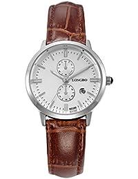 2984dee0a91d Longbo MUJER lujo marrón piel banda par reloj vestido de negocios Casual  relojes esfera blanca plateado