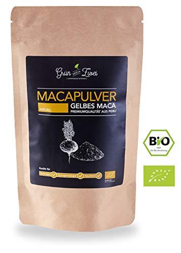 Bio Maca Pulver 200g Premium Auslese von GrünHochZwei | Superfood in kontrollierter Qualität aus Südamerika (Peru) | Macapulver – das natürliche Potenzmittel und Aphrodisiakum