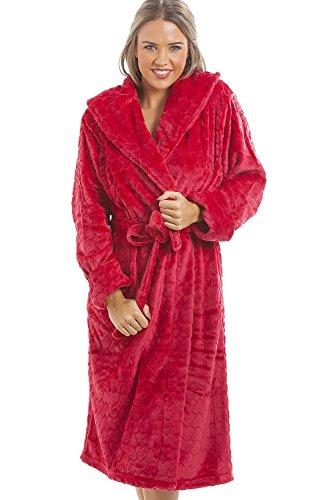 Camille - Robe de chambre pour femme - polaire douce - motif coeurs - Rouge 42/44