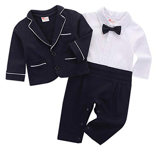 cool elves 2tlg Baby-Jungen Bekleidungssets Strampler + Anzug Mantel Gentleman Langarm Fliege Hochzeit Taufgeschenk Bowknot Dunkelblau Größe 90 (Für Anzüge Kinder Coole)