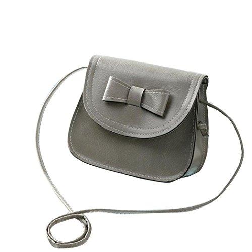 ZARU Arbeiten Sie Frauen Bowknot Leder-Handtasche , einzelner Schulter Grau