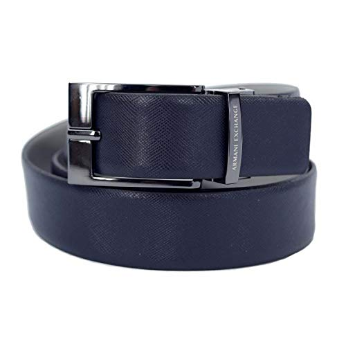 ARMANI EXCHANGE Leather Belt With Plaque Cintura Uomo, Blu (Blue/Navy/Grey 51635) No Aplica (Taglia Produttore: TU)