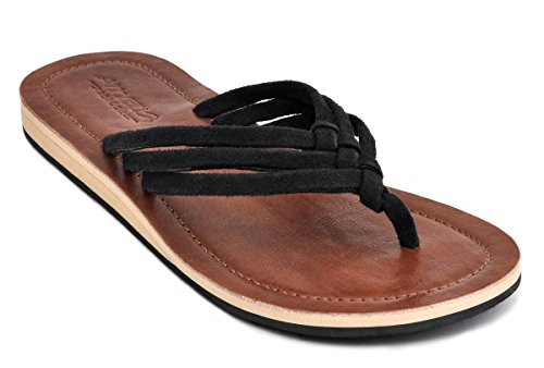 Amboss Damen Sandale mit Echt Leder Gr.36-43 Farbe: gelb, orange, pink, schwarz Schwarz