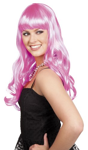 Pink Kostüm Pony Sexy - sexy Langhaarperücke pink Fasching Karneval Party neu