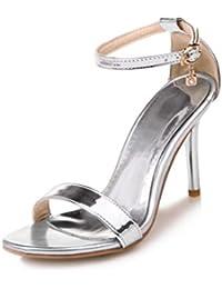 SJJH Damen Elegant Sandalen mit Hohem Absatz Open Toe Sandalen Sommer (Silver, 41 EU)