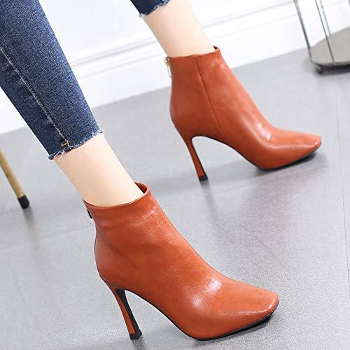 HRCxue Pumps Stiletto Booties weibliche Kopf nackte Stiefel einzelne Stiefel High Heel Reißverschluss Mode Martin Stiefel weiblich, 36, Kürbis rot -