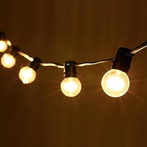 LED G40 Guirlande Guinguette 7.62M Ampoule E12 Blanche Chaude Connectable jusqu'à 3 Brins Guirlandes Lumineuses avec 25 Ampoules 220V Lumière