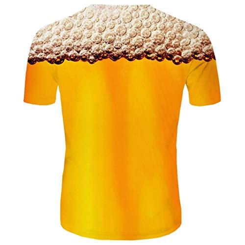 Realde Herren Oder Rundhals Kurzarm T-Shirt Happy Cheer Loose 3D Bierdruck Oberteil Herbst und Winter Passt super auch zur Jeans Männer BequemTops Größe M-XXXL