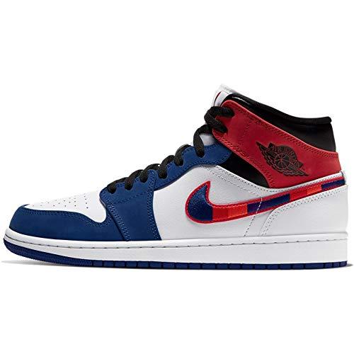 Nike Herren AIR Jordan 1 MID SE Basketballschuh, White Univ Red Rush Blue Black, 42.5 EU
