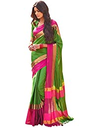 Sr Cotton Saree With Blouse Piece (_Green_Free Size)