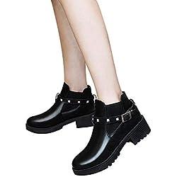 ❤️ Vintage Botas de Mujer, Retro Belt Hebilla Rivet Boots Mujer Botas de Moto con Botines de Invierno Absolute
