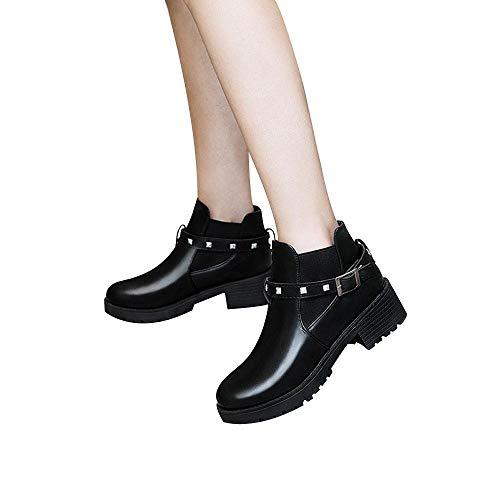❤️ Vintage Botas de Mujer, Retro Belt Hebilla Rivet Boots Mujer Botas...