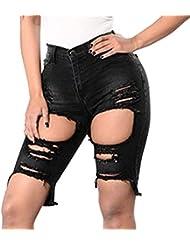 f09a999f89 yunhou Pantalones Cortos De Mezclilla para Mujeres - Rotos hasta La Rodilla  Pantalones Vaqueros Pantalón Alto