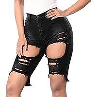 yunhou Pantalones Cortos De Mezclilla para Mujeres - Rotos hasta La Rodilla Pantalones Vaqueros Pantalón Alto Cremallera De Botón Elástico Pantalones Pitillos
