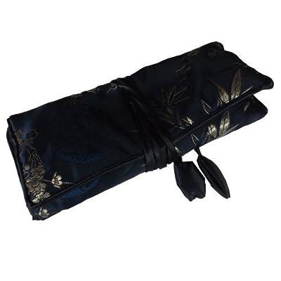 Precioso estuche en rodillo para joyería con tela jacquar de satén, organizador de joyería, bolso de viaje de joyería, (nota: los diseños Jacquard varían) - azul marino de Shudehill Giftware