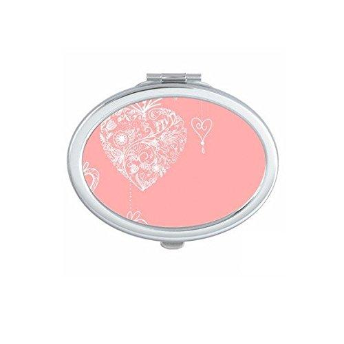 DIYthinker Valentinstag Rosa-weißes Herz-geformte Blumen Reben Illustration Muster Oval Compact Make-up Taschenspiegel Tragbare Nette kleine Handspiegel